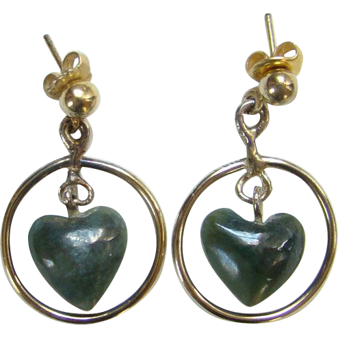 Vintage Southwestern Green Stone Heart Shape Pierced Earrings Gold Vermeil Over Sterling