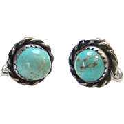 Vintage Southwestern Sterling and Turquoise Earrings Screw Back Marked