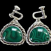 Vintage Southwestern Clarence Dorr Green Malachite Screw Back Earrings Sterling Silver Marked