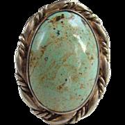Vintage Large Oval Southwestern Sterling Silver Turquoise Ring Size 9 Signed Clarence Dorr