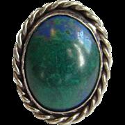 Vintage Southwestern Azurite Malachite Gemstone Ring Size 9.5 Signed Sterling Silver
