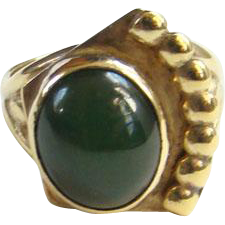 Vintage Green Stone Ring Size 6.5 Gold Vermeil Over Sterling Silver