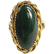 Vintage Southwestern Malachite Sterling Silver Ring Gold Vermeil Size 9