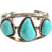 Vintage Southwestern Turquoise Cuff Bracelet Marked Sterling Heavy Gorgeous Stones