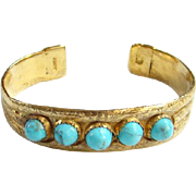 Vintage Turquoise Cuff Bracelet Clarence Dorr Gold Vermeil Over Sterling Silver