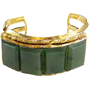 Vintage Green Agate Stone Cuff Bracelet Gold Vermeil Over Sterling Silver Clarence Dorr