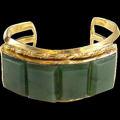 Vintage Green Stone Cuff Bracelet Gold Vermeil Over Sterling Silver Clarence Dorr