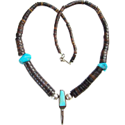 Vintage Native American Graduated Pendant Necklace Sterling Silver Heishi Shell Bead Turquoise Nugget