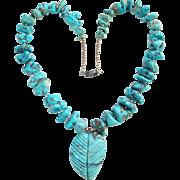 Vintage Southwestern Necklace Turquoise Nugget Carved Leaf Sterling Beads