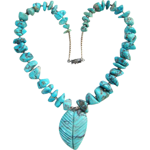 Vintage Southwestern Necklace Turquoise Nugget Carved Leaf Sterling Beads