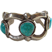 Vintage Heavy Native American Sand Cast Cuff Bracelet 3 Turquoise Stones Sterling Silver