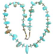 Vintage Southwestern Graduated Turquoise Nugget Bead Necklace with Heishi Shell and Sterling Beads