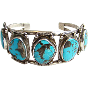 Vintage Sterling Silver Navajo Turquoise Row Cuff Bracelet Five Gorgeous Stones Native American
