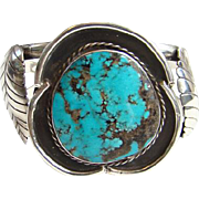 Vintage Navajo Native American Turquoise Cuff Bracelet Great Large Stone Sterling Silver
