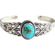Vintage Fred Harvey Era Navajo Turquoise Cuff Bracelet Sterling Silver Crossed Arrows Signed P