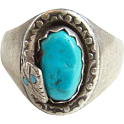 Vintage Zuni Ray Nieto Turquoise Nugget Mens Snake Ring Sterling Silver Signed RN Size 11.5