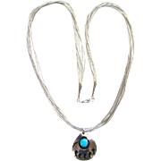 Southwestern Style Bear Paw Turquoise Pendant Necklace Liquid Silver Multi Strand Chain 23.5 Inch