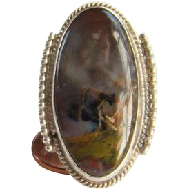 Vintage Southwestern Petrified Wood Gemstone Sterling Silver Ring Size 7 Native American Style