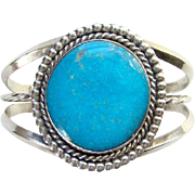Vintage Blue Turquoise Sterling Cuff Bracelet Native American Style Signed LT
