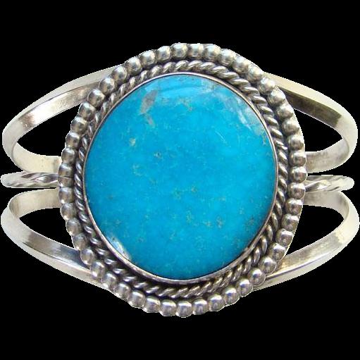 Vintage Blue Turquoise Sterling Cuff Bracelet Native American Style Signed LT