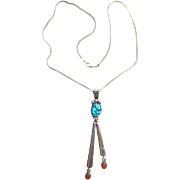Navajo Tim Kee Whitman Turquoise Coral Pendant Necklace Sterling Silver Signed TKW Sterling