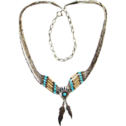 Southwestern Style Bear Paw and Feather Dangle Pendant Necklace 925 Sterling Silver Turquoise Beaded