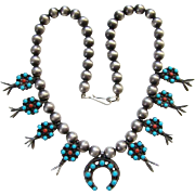 Vintage Southwestern Squash Blossom Necklace Turquoise and Coral Marked Sterling