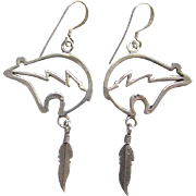 Southwestern Style Earrings Bear and Feather Sterling Silver Pierced