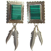 Southwestern Style Green Malachite Sterling Silver Pierced Post Earrings Marked QT
