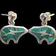 Vintage Green Malachite Inlay Silver Pierced Bear Earrings Marked Sterling Southwestern Style