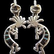 Southwestern Kokopelli Pierced Earrings Inlay Sterling Silver Black Onyx Green Abalone Shell