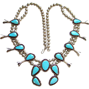 Old Turquoise Squash Blossom Necklace Sterling Silver 27 Inch Long Native American