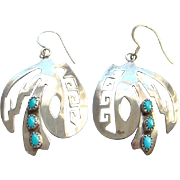 Vintage Turquoise Sterling Silver Pierced Earrings Signed MR Southwestern
