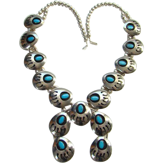 Vintage Turquoise Native American Shadowbox Bear Paw Squash Blossom Naja Necklace Sterling Silver Southwestern