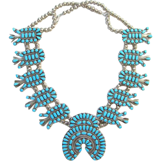 Vintage Zuni Petit Point Turquoise Sterling Silver Squash Blossom Necklace Native American Southwestern