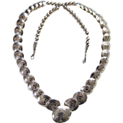 Vintage Native American Sterling Silver Graduated Concho Bead Necklace Signed NS