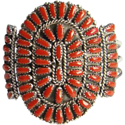 Zuni Coral Petit Point Rosette Cluster Cuff Bracelet Vintage Native American Sterling Silver