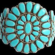 Vintage Zuni Turquoise Rosette Cluster Bracelet Hallmarked Sterling Native American
