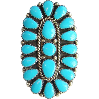 Vintage Native American Zuni Turquoise Petit Point Cluster Ring Size 8 Hallmarked Sterling
