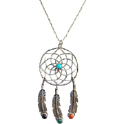 Southwestern Dream Catcher Pendant Necklace Feather Dangles Turquoise Onyx Coral Malachite