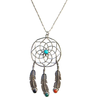 Southwestern Dream Catcher Pendant Necklace Feather Dangles Turquoise Onyx Coral Malachite