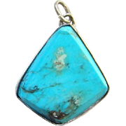 Southwestern Style Turquoise Necklace Pendant Beveled Edge Sterling Silver