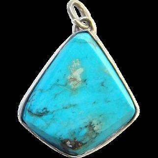 Southwestern Style Turquoise Necklace Pendant Beveled Edge Sterling Silver