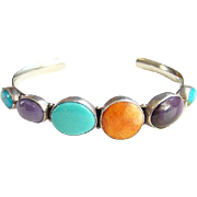 Native American Turquoise Sterling Cuff Bracelet Amethyst Spiny Oyster Signed RM