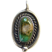 Navajo Native American Green Turquoise Necklace Pendant with Raindrop