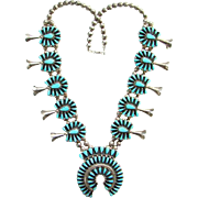 Vintage Stunning Zuni Turquoise Squash Blossom Petit Point Cluster Necklace Signed BY Sterling