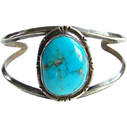 Vintage Blue Turquoise Navajo Cuff Bracelet Sterling Silver Native American