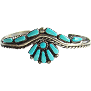 Vintage Zuni Petit Point Turquoise Cuff Bracelet Sterling Silver Signed ML 925