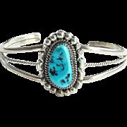Vintage Native American Turquoise Cuff Bracelet Signed RB Sterling