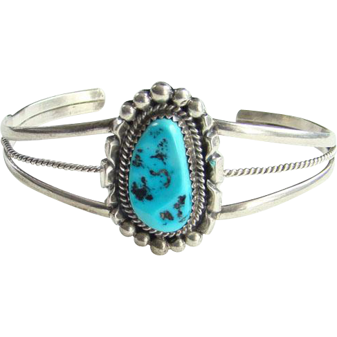 Vintage Native American Turquoise Cuff Bracelet Signed RB Sterling